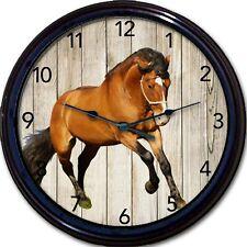 """Horse Bay Wall Clock Rustic Equestrian Jockey Pony Cowboy Horses New 10"""""""