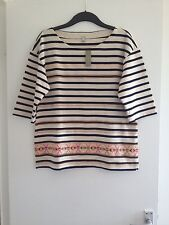 BNWT Ladies J.Crew Beige/Navy Stripe/Multi Pattern 3/4 Sleeve Quality Top-Size L