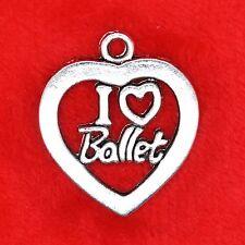 6 X Tibetano Plata I Love Ballet encanto del corazón Colgante encontrar abalorios que