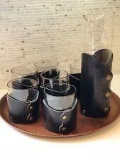 Mid Century Vintage Bar Set Leather Brass Glasses Pitcher Martini Craft Cocktail