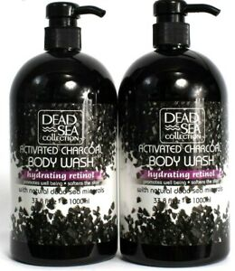 2 Count Dead Sea Collection 33.8oz Activated Charcoal Hydrate Retinol Body Wash