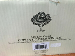 6 piece Shannon by Godinger 24% Lead Crystal Dublin Wine Set #2586