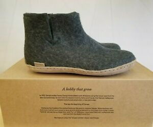 Glerups Forest Slippers 100 % Pure And Natural Wool Leather Sole Boots For Men