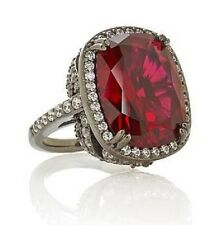 "Jean Dousset SS14ct Absolute Cushion-Cut Ruby&Pavé Frame""Feather"" Cocktail Ring"