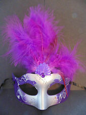 Purple/Silver Feather Masquerade Mask  Fancy Dress / Party / Ball / Mardi Gras