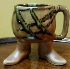 Cowboy boots mug Pottery Art footed Coffee Tea cup Western unique collectible!!!