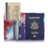 Leather Passport Cover Holder RFID Blocking Men / Women Travel Wallet Case