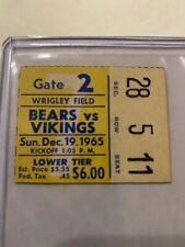 RARE VINTAGE 1965 NFL FOOTBALL CHICAGO BEARS TICKET STUB VS MINNESOTA VIKINGS !