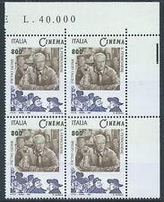 1997 ITALIA IL CINEMA ITALIANO VARIETà COLORE AZZURRO QUARTINA MNH ** - C0