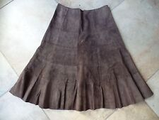 EDDIE BAUER Washable Brown A Line Suede 100% Leather Midi Lenght Skirt 6