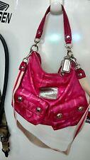Auth. Coach Poppy Pink Sateen Signature Hobo Shoulder Bag Purse Hangbag