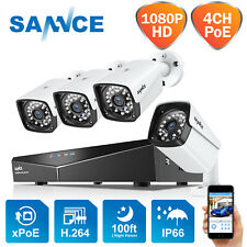 SANNCE 1080P 4CH NVR PoE Outdoor Full 2MP CCTV Security Camera System IP Network