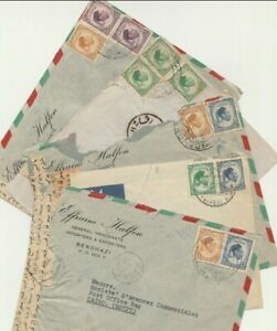 LIBYA-ITALY Rare 5 Judaica Merchants in BENGHAZI Airmail Letters to Cairo 1952