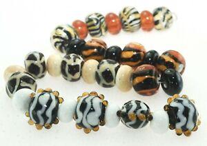 OliveStuart Handmade Lampwork Beads 31 black/cream/brown/amber lentil/round