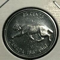 1967 CANADA  SILVER 25 CENTS HIGH GRADE COIN