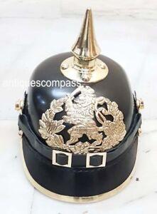 Prussian German Pickelhaube Hessen Helmet WW1 & WWI Black Leather Helmet Replica
