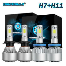 Combo H11 H7 LED Headlight Bulbs Kit High Low Beam Total 2160W 324000LM 6500K 4x