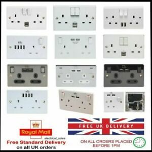 1 & 2 GANG DOUBLE SINGLE SWITCHED WALL MAINS PLUG SOCKET USB CHARGING PORTS 13A
