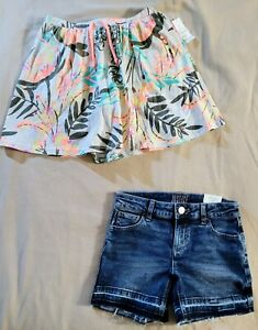 Lot of 2 Girls Size 10/12  Justice Jean Shorts & Old Navy Skorts NWT SS