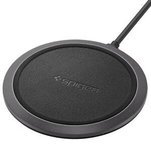 Qi Fast Wireless Charger Dock Pad 10W Spigen Essential®[F308W] Leather Black