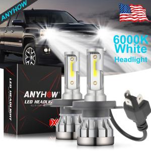 ANYHOW H4 9003 LED Headlight Bulbs Kit White High Low Beam Replace Halogen 2PCS