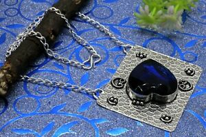 """Handmade 925 Sterling Silver Blue Sapphire Gemstone Jewelry Necklace Size-17-18"""""""