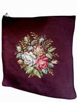 "Vintage Needlepoint Rose Flower Wool Pillow Top Burgundy 15.5"" Square Craft"