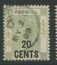 Hong Kong SG48 1891 20c on 30c yellowish green Used