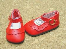 Doll Shoes, 47mm RED Classic Ankle Straps - Bitty Bethany