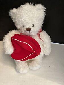 "Hallmark Storybook Friends Teddy Bear Backpack Plush Red Bow Gingham 15"""