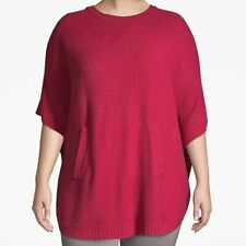 Lane Bryant 14-20 Sweater Top Poncho Red Shirt Tunic Ribbed Pockets Plus Size