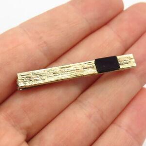 835 Silver 2-Tone Vintage Germany Real Black Onyx Gem Tie Clip