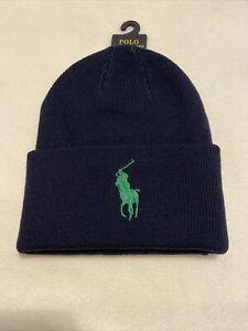 Ralph lauren Big Logo Beanie Hat Navy Blue/Green One Size RRP £34 100% Authentic
