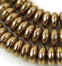 50 Czech Glass Rondelle Beads - Metallic Bronze 6x2mm
