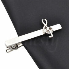 1X Mens Musical Note Tie Clips Decorative Silver Metal Tie Bar Party Accessories