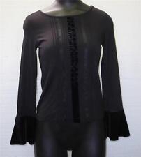 NWT Cute Women's Apostrophe Black Stretch Long Sleeve Top Blouse Sz Petite XS