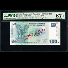 Congo 100 Francs 2007 Specimen PMG 67 SUPERB GEM UNC P-98s TOP POP