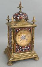 Small Antique French Gilt Bronze & Champleve Enamel Regulator Desk Mantel Clock