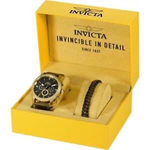 Invicta Aviator 29798 Men's Round Chronograph Date Watch & Leather Bracelet Set