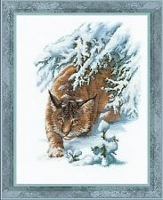 Lynx In The Snow Premium Cross Stitch Kit Riolis 100 020