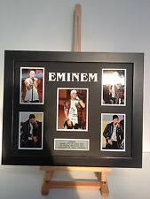 UNIQUE PROFESSIONALLY FRAMED, SIGNED EMINEM PHOTO COLLAGE WITH PLAQUE.