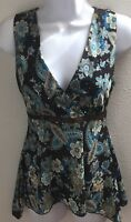 top blouse small s brown blue floral print sequin sheer casual stretch v neck