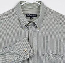 Yves Saint Laurent Men's Medium Seersucker Hidden Button Gray Pinstriped Shirt