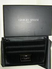 GIORGIO ARMANI PARFUMS BLACK VELOUR EVENING BAG PURSE WRIST STRAP NEW BOXED