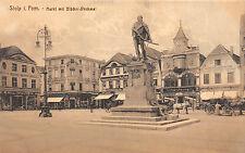 Stolp Pommern Markt mit Blücher - Denkmal Geschäfte, Läden Postkarte