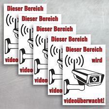 """5 Aufkleber 14,8 x 10,5 cm """"Bereich wird videoüberwacht!"""" Videoüberwachung"""