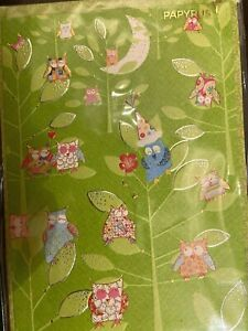 RARE OOP Papyrus Turnowsky Birthday Card - Embossed Detailed Owls Party in Tree
