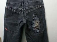 Vintage JNCO Black Flaming Skull 90's Wide Leg Skater Jeans 32 x 30 Barely Worn