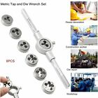 8 Pcs HARDENED METRIC TAP & DIE WRENCH SET Screw Thread Taper Drill Tool KITS