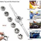 8 Pcs HARDENED METRIC TAP & DIE WRENCH SET Screw Thread Taper Drill Tool KITS